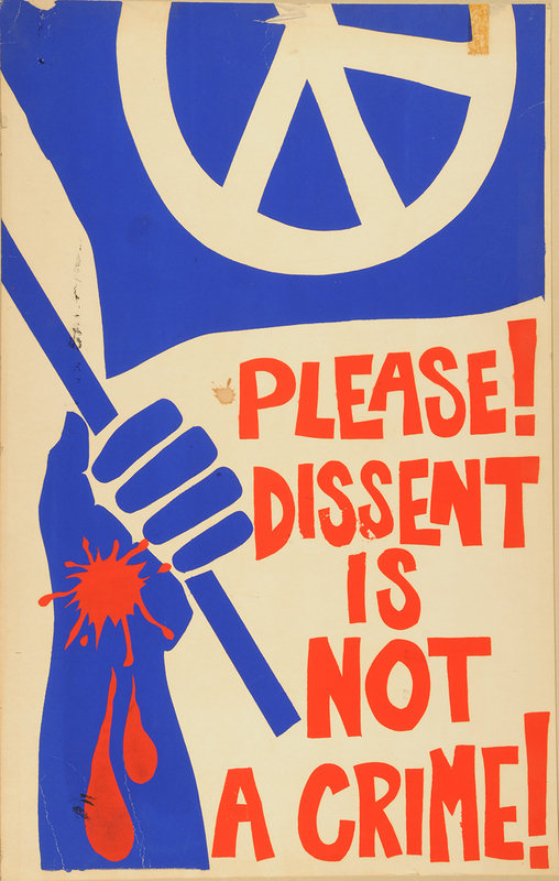 """Please! Dissent is Not a Crime!"" Oberlin student poster made in response to May 4, 1970"