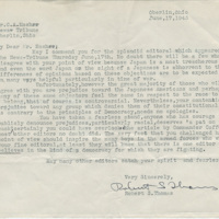 Letter from Robert S. Thomas to the editor of the <em>Oberlin News-Tribune</em>, June 17, 1943