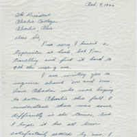 Letter from Goldie Nicholson to President Ernest Hatch Wilkins, October 9, 1942