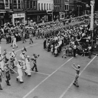 V-12 parade in downtown Oberlin, August 14, 1945